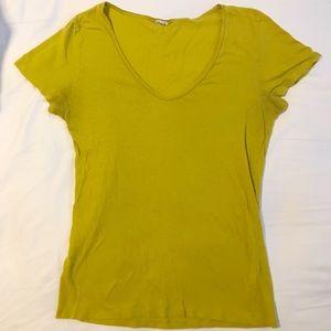J. Crew Mustard Yellow Scoop Neck Tee Shirt